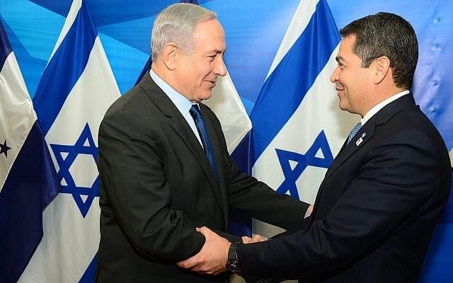 Primeiro Ministro de Israel, Netanyahu com o Presidente de Honduras, Juan Orlando Hernandez, em Jerusalém