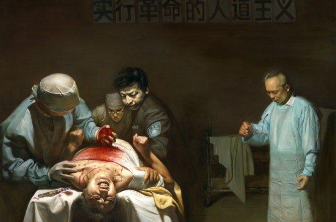 Pintura intitulada 'Extração ilegal de órgãos', de Dong Xiqiang (The Traditional Culture Arts Center) Fonte: Epoch Times.