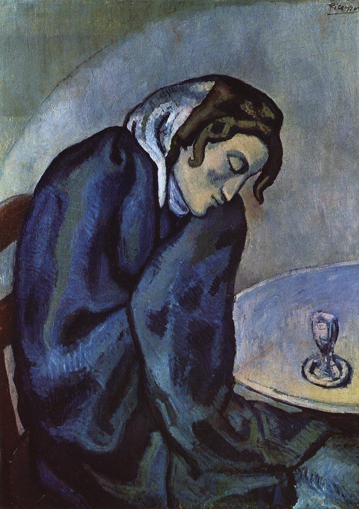 La Buveuse Assoupie. Pablo Picasso, 1902, óleo no painel, 80 x 62 cm