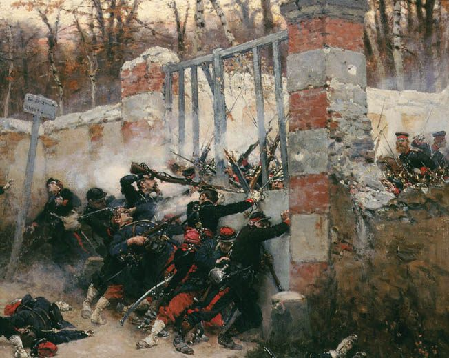 Guerra franco prussiana: Attack on the Longboyau Gate, Buzenval, France, January 1871 - Alphonse de Neuville