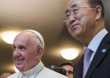 Foto: Reprodução. Para Francisco e o secretário geral da ONU Ban Ki-Moon, um dos que estará presente no Sínodo.