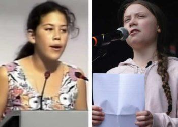 Severn Cullis-Suzuki, à esquerda, discursa na Conferência das Nações Unidas sobre Meio Ambiente e Desenvolvimento, em 1992, no Rio de Janeiro. À direita, Greta Thunberg discursa na Cúpula de Ação Climática das Nações Unidas em 2019, na sede da ONU em Nova York. YouTube / The Associated Press (fonte: Times Colonist)
