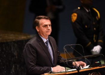 NEW YORK, NY - SEPTEMBER 24: Brazil President Jair Messias Bolsonaro speaks at the United Nations (U.N.) General Assembly at UN headquarters on September 24, 2019 in New York City. World leaders are gathered for the 74th session of the UN amid a warning by Secretary-General Antonio Guterres in his address yesterday of the looming risk of a world splitting between the two largest economies - the U.S. and China.   Stephanie Keith/Getty Images/AFP