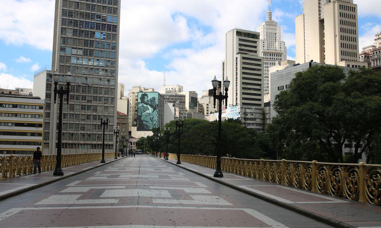 Viaduto Santa Ifigênia durante a quarentena. Créditos da foto: Rovena Rosa/Agência Brasil.