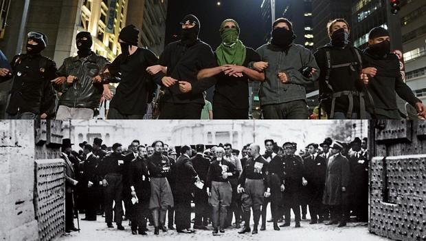 """BRASIL, 2013 O black bloc, ou bloco negro, que entra nas passeatas para promover violência e vandalismo ITÁLIA, 1922 Os """"camisas negras"""", paramilitares fascistas, apoiam a ascensão ao poder do ditador Benito Mussolini (Fotos: Lost Art e Afp)"""