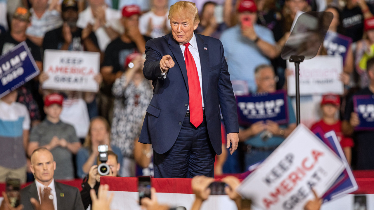 President Donald Trump works the crowd during a campaign rally Wednesday, July 17, 2019 at East Carolina University in Greenville, NC.