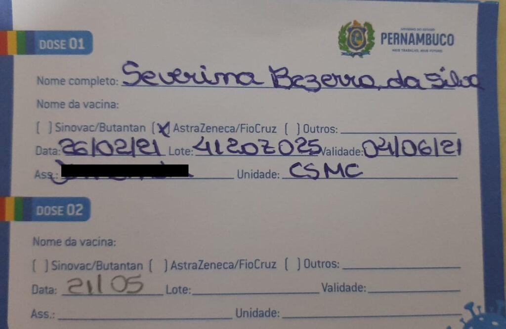 Cartão de Vacinação de dona Severina Bezerra da Silva